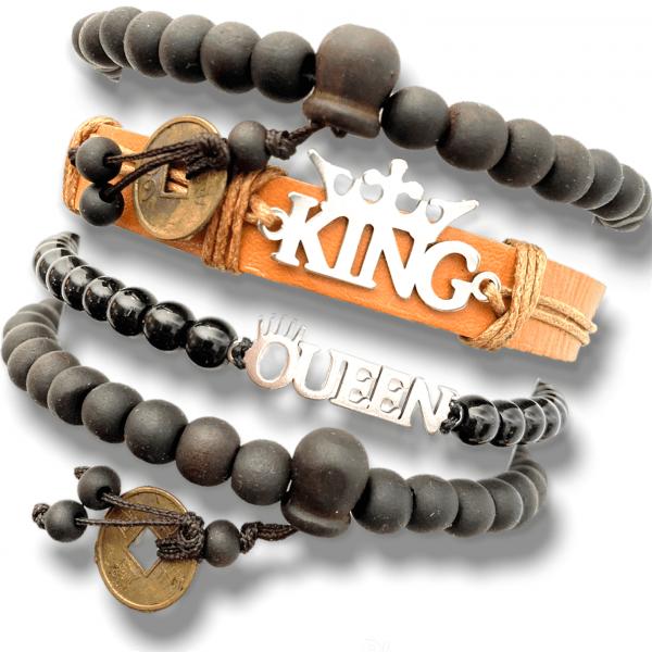Infojerk Lifestyle – Set of 4 – Hand Bands/Bracelets for Couple - Brown
